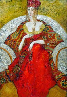 Ludmila Curilova Surrealism Painting, Yellow Art, Canadian Artists, Surreal Art, Portrait, Lady In Red, Folk Art, Art Decor, Fairy Tales