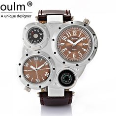 13.09$  Watch here - http://ali6hc.shopchina.info/go.php?t=1903415064 - Oulm Movement Quartz Watch Compass thermometer just decoration Leather Belt Sports watches  #bestbuy