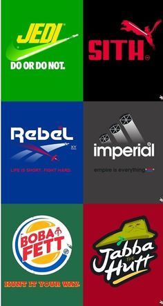 The brands of Star Wars...Can I please get shirts in all of these???