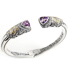 Amethyst Bangle Set in Sterling Silver & 18K Gold Accents | Cirque Jewels