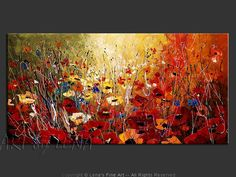 """Original art for sale by the artist. Canvas painting """"Scarlet Meadows"""" by Canadian artist Lena Karpinsky."""