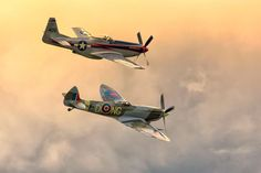 Two old warbirds in a tight formation. It is a Vickers Supermarine Spitfire Mk. XVI and a North American P-51D Mustang. Both airplanes are owned by the Swedish company Biltema.