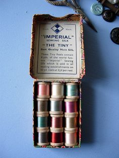 """""""the tiny"""" box of sewing silk"""