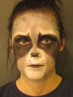 raccoon makeup from my class used the whisker dots to hide my monroe piercing Halloween 2015, Halloween Make Up, Halloween Ideas, Halloween Costumes, Halloween Face Makeup, Raccoon Makeup, Indian Face Paints, Rocket Costume, Odyssey Of The Mind