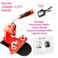 "KIT - 32mm(1 1/4"") New Pro Badge Machine Button Maker-S1 + Round Mould + 200 Parts + 32mm Handling Cutter"