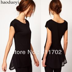 Black silk chiffon pleated  dovetail short-sleeve o-neck slim women t-shirt,free shipping $9.88