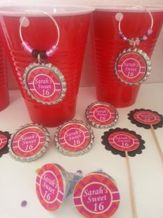 Personalized Sweet 16 Birthday Party Decorations a Set of 12. We custom design these just for you with your own colors,  themes and sayings on them. Let us know if you want more or less and we can set up a custom listing just for you. Our Personalized  Charms are $1.95 each. You can order wine ch...
