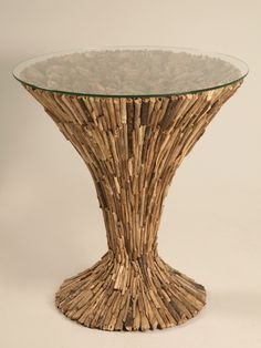 outdoor bed driftwood | New Driftwood Table with Glass Top - New rustic pedestal table with ...