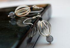 Silver Dangle EarringsGray Gems by SaraBernhartJewelry on Etsy, $19.00