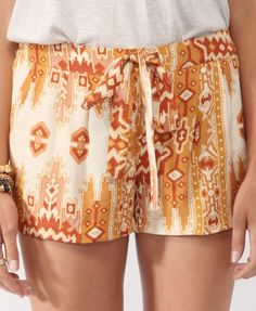 Pleated Tribal Print Shorts in cream and amber brown | FOREVER21