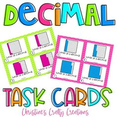 40 decimal task cardsGreat for small group instruction, whole class activities, and more!Answer key and recording sheet included. New Years Activities, Class Activities, Math Resources, 4th Grade Fractions, Teaching Fractions, Decimal, Elementary Teacher, Elementary Education, Addition Flashcards