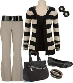 great set -- love the neutrals, w/black, pretty fabrics - - PLUS SIZE OUTFIT #34;Untitled #171#34; by ...