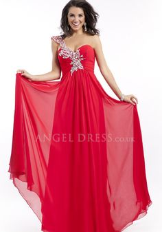 One Shoulder A line Chiffon Natural Waist Floor Length Prom Dress With Beading