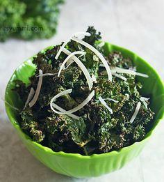 Spicy Parmesan Kale Chips