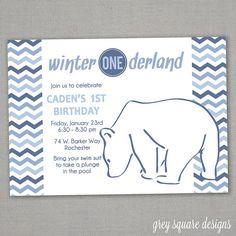 Winter Wonderland Polar Bear Birthday Invitation