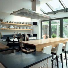 natural kitchen shelves