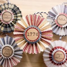 Fourth of July Rosette Ornaments – Patriotic decor – Paper Ornaments – of July – Independence Day So this of July, who want to party like it's Jefferson? Fourth Of July Decor, 4th Of July Decorations, 4th Of July Party, July 4th, Americana Decorations, Patriotic Crafts, July Crafts, Americana Crafts, Patriotic Party