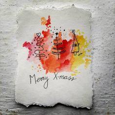 Best wishes / Tekenen Painted Christmas Cards, Watercolor Christmas Cards, Homemade Christmas Cards, Christmas Drawing, Christmas Cards To Make, Christmas Paintings, Watercolor Cards, Xmas Cards, Christmas Art