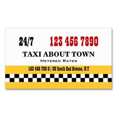 Taxi cab yellow red black Double-Sided standard business cards (Pack of 100). This great business card design is available for customization. All text style, colors, sizes can be modified to fit your needs. Just click the image to learn more!