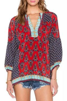 Tiny Floral Leaves Print Long Sleeve Blouse