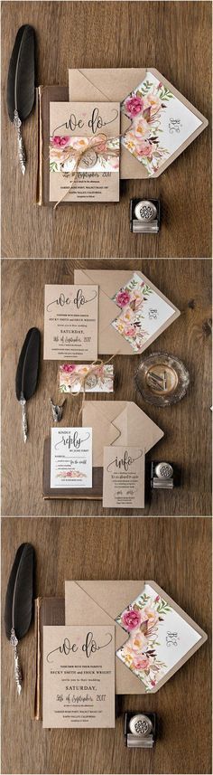Rustic country peach and pink kraft paper wedding invitations / http://www.deerpearlflowers.com/rustic-wedding-invitations/