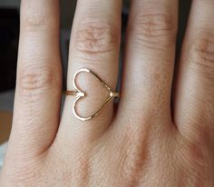 Hammered Sideways Heart Gold Filled Ring -