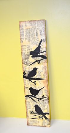 4 bird silhouettes in mixed media style on long by busygirlart, $25.00