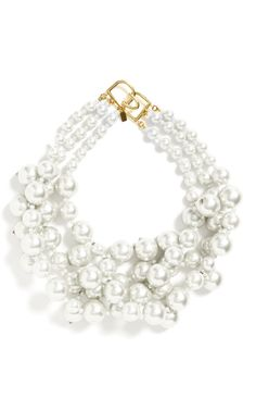 Kenneth Jay Lane Three Row Cultured Pearl Necklace by Kenneth Jay Lane for Preorder on Moda Operandi