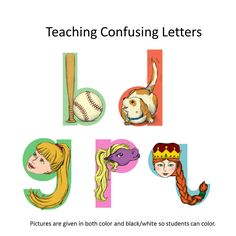 Students frequently confuse the letters 'b', 'd', 'g,' 'p' and 'q'. This pdf contains pictures that will help the students learn these letters when reading and writing. Repinned by SOS Inc. Resources pinterest.com/sostherapy/.