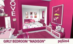 "pqSim4: Girly Bedroom ""Madison"". Sims 4 Custom Content."