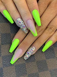 neon nails 43 Neon Nail Designs That Are Perfect for Summer Neon Green Nails, Bright Summer Acrylic Nails, Best Acrylic Nails, Neon Nails, Swag Nails, 3d Nails, Summer Nails Neon, Acrylic Nails Green, Acrylic Nail Designs For Summer