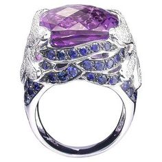 18K White Gold Ring set with Amethyst, Blue Sapphire and Diamond