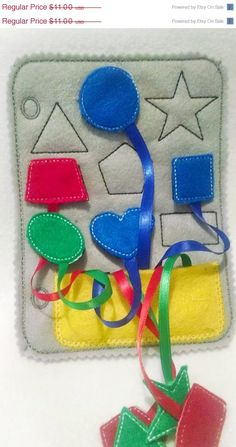 Christmas in July Sale Felt shapes quiet book page 9 different shapes