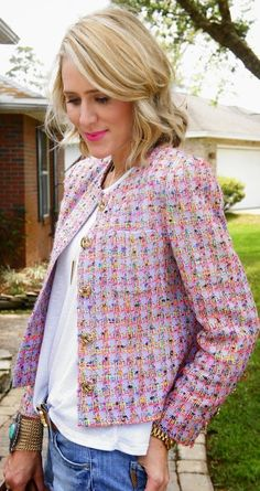 Spring Pink Checkered Tweed Crop Jacket by Belle de Couture.  Great jacket with the jeans!! I love this!