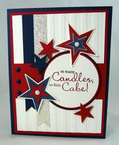 handcrafted 4th of July card ... red, white and blue with a bit of silver sparkle too ... luv the die cut grouping of stars around the circular focal area ... Stampin' Up!
