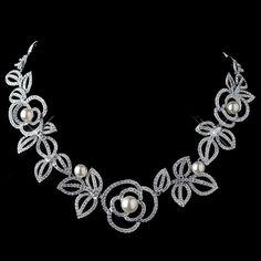 Rhodium Diamond White Pearl Necklace 76013
