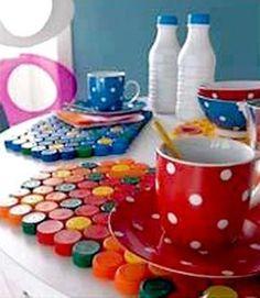 Tovagliette di tappi di plastica | Riciclo Creativo