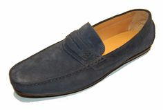 Saks Fifth Avenue Men's Blue Loafers Suede Italy Shoes Size 13 $278 #SaksFifthAvenue #LoafersSlipOns