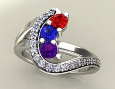 mothers rings | Home / Three Birthstone Custom Mothers Ring With Ideal Cut Diamonds