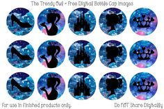 Galaxy Princess Silhouettes <3 FREE Digital Bottle Cap Images!! https://www.facebook.com/thetrendyowlUS http://www.thetrendyowl.com
