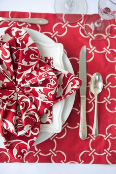 A table set in red   Hen House Linens