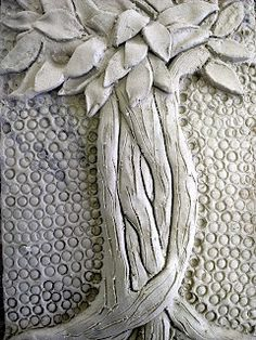 great bas relief tree... with textured background... good for middle schoolers....