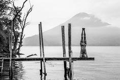 Nothing special just a sunrise sirsasana on a dock of Atitlan Lake . . Atitlan Sunset Lodge Guatemala May 2018 . . #Guatemagica #Atitlan #Lake #Lago #Canon #headstand #sirsasana  #volcano #volcan #sunrise #dawn #blackandwhite #bwphotography #AlexKrotkov #Photography #Guatemala