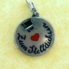 RARE Vintage German Silver Enamel Movable Charm Time for Rendezvous Darling | eBay