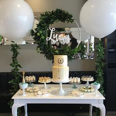 | LUCA | another shot of baby Luca's table 💙 #christening #baptism #babyboy #jumboballoons #ivy #blue #white #party #eventstylingsydney…