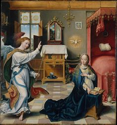 The Annunciation, c. 1525. Joos van Cleve (Netherlandish). Oil on wood. 32.100.60. Metropolitan Museum, New York. A little late - but full of great detail. Private altar on the sideboard; candle with reflector on left wall; Holy Face pinned to back wall (though Christ appears to have horns like the Devil).