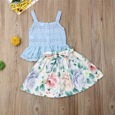 Quality Pudcoco Summer Toddler Baby Girl Clothes Strap Ruffle Cotton Tops Flower Print Short Skirt Outfits Summer Clothes with free worldwide shipping on AliExpress Mobile Baby Girl Skirts, Baby Skirt, Dresses Kids Girl, Cute Girl Outfits, Kids Outfits, Cotton Frocks For Kids, Baby Frocks Designs, Baby Girl Dress Patterns, Fancy Blouse Designs