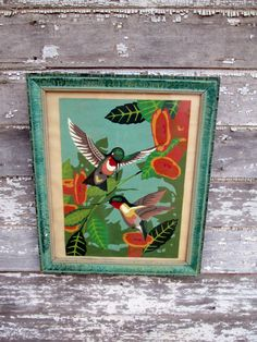 Vintage Hummingbird Paint by Numbers Chippy shabby frame via Etsy