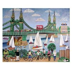 Fine Art Greeting Card, Acrylic, Hammersmith Bridge with boats and people