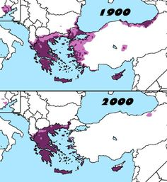 Distribution of Greeks in 1900 and 2000.